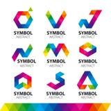 Διανυσματικά λογότυπα από τις αφηρημένες ενότητες Στοκ Εικόνα