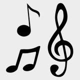 Διανυσματικά σύμβολα σημειώσεων μουσικής απεικόνισης Στοκ Εικόνες