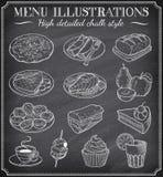 Διανυσματικές απεικονίσεις τροφίμων πινάκων κιμωλίας Στοκ Εικόνα