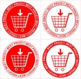 Διανυσματικές κόκκινες τιμές, αυτοκόλλητες ετικέττες, καροτσάκι Στοκ φωτογραφία με δικαίωμα ελεύθερης χρήσης