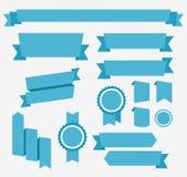 Διανυσματικές μπλε αναδρομικές κορδέλλες καθορισμένες Στοιχεία που απομονώνονται Στοκ εικόνα με δικαίωμα ελεύθερης χρήσης