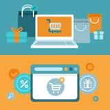 Διανυσματική έννοια αγορών Διαδικτύου στο επίπεδο ύφος Στοκ Εικόνα