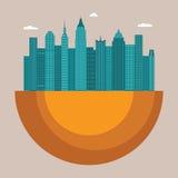 Διανυσματική έννοια απεικόνισης εικονικής παράστασης πόλης με τα κτίρια γραφείων και τους ουρανοξύστες Στοκ Εικόνες