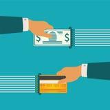 Διανυσματική έννοια απεικόνισης των μετρητών και της σε είδος κυκλοφορίας χρημάτων Στοκ Εικόνες