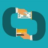 Διανυσματική έννοια απεικόνισης των μετρητών και της σε είδος κυκλοφορίας χρημάτων Στοκ Φωτογραφία