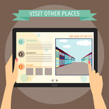Διανυσματική έννοια απεικόνισης των χεριών που κρατά το σύγχρονο ψηφιακό tabl Στοκ φωτογραφίες με δικαίωμα ελεύθερης χρήσης
