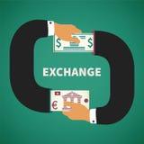Διανυσματική έννοια της διαδικασίας ανταλλαγής νομίσματος Στοκ εικόνες με δικαίωμα ελεύθερης χρήσης