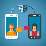 Διανυσματική έννοια της παγκόσμιας παγκόσμιας επικοινωνίας με τη μεγάλη τηλεφωνική απόσταση Στοκ Φωτογραφία