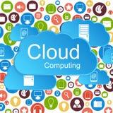 Διανυσματική έννοια υπολογισμού σύννεφων. Temp σύγχρονου σχεδίου Στοκ Φωτογραφίες
