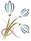 Διανυσματική ανθοδέσμη των λουλουδιών άνοιξη Κρόκοι ή snowdrops με ένα ρ Στοκ Φωτογραφία