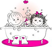 Διανυσματική απεικόνιση, άνδρας αγάπης και μια γυναίκα που λούζει στο bathroo Στοκ Εικόνες
