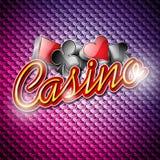 Διανυσματική απεικόνιση σε ένα θέμα χαρτοπαικτικών λεσχών με τα σύμβολα πόκερ και λαμπρά κείμενα στο αφηρημένο υπόβαθρο σχεδίων Στοκ Φωτογραφίες