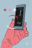 Διανυσματική απεικόνιση στο αναδρομικό ύφος με το χέρι που κρατά το έξυπνο τηλέφωνο, σχετικά με την οθόνη Στοκ Φωτογραφίες
