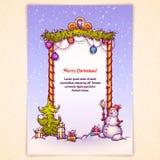 Διανυσματική απεικόνιση της πύλης Χριστουγέννων με το χιονάνθρωπο Στοκ εικόνα με δικαίωμα ελεύθερης χρήσης