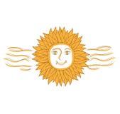 Διανυσματική απεικόνιση του αφηρημένου ήλιου με τις φλόγες Στοκ εικόνα με δικαίωμα ελεύθερης χρήσης