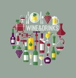 Διανυσματική απεικόνιση του συνόλου κρασιού Συλλογή ποτών Στοκ Φωτογραφία