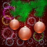 Διανυσματική απεικόνιση Χριστουγέννων με τον κλάδο δέντρων και Στοκ Φωτογραφίες