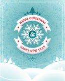 Διανυσματική απεικόνιση Χριστουγέννων με το τυπογραφικό σχέδιο και κορδέλλα στο υπόβαθρο τοπίων Στοκ εικόνες με δικαίωμα ελεύθερης χρήσης