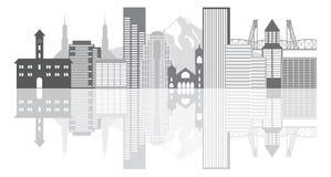 Διανυσματική απεικόνιση Grayscale οριζόντων του Πόρτλαντ Όρεγκον Στοκ Φωτογραφία