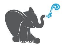Διανυσματική εικόνα ενός ψεκάζοντας νερού ελεφάντων Στοκ Εικόνες