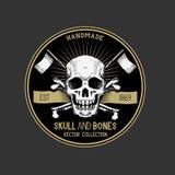 Διανυσματική ετικέτα κρανίων πειρατών Στοκ Εικόνες