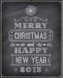 Διανυσματική ευχετήρια κάρτα πινάκων κιμωλίας Χριστουγέννων Στοκ Εικόνες