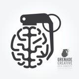 Διανυσματική διαστρέβλωση εγκεφάλου από τη μηχανή έννοιας χειροβομβίδων της ιδέας Στοκ Φωτογραφίες