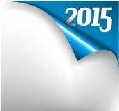 Διανυσματική κάρτα έτους Χριστουγέννων νέα - φύλλο του εγγράφου με μια μπούκλα 2015 Στοκ εικόνες με δικαίωμα ελεύθερης χρήσης