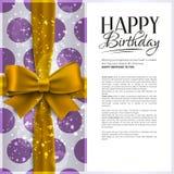 Διανυσματική κάρτα γενεθλίων με την κίτρινη κορδέλλα και Στοκ Εικόνες