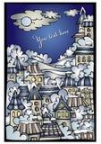 Διανυσματική πόλης ευχετήρια κάρτα χειμερινού παραμυθιού κινούμενων σχεδίων Στοκ εικόνα με δικαίωμα ελεύθερης χρήσης