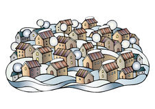 Διανυσματική πόλη χειμερινού παραμυθιού κινούμενων σχεδίων Στοκ φωτογραφία με δικαίωμα ελεύθερης χρήσης