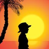 Διανυσματική σκιαγραφία ενός αγοριού Στοκ Εικόνα