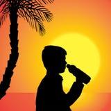 Διανυσματική σκιαγραφία ενός αγοριού Στοκ Φωτογραφία