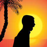 Διανυσματική σκιαγραφία ενός αγοριού Στοκ Εικόνες