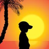 Διανυσματική σκιαγραφία ενός αγοριού Στοκ Φωτογραφίες