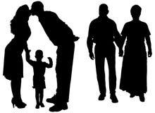 Διανυσματική σκιαγραφία της οικογένειας Στοκ Φωτογραφίες