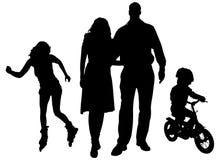Διανυσματική σκιαγραφία της οικογένειας Στοκ Φωτογραφία