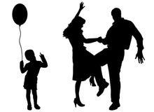 Διανυσματική σκιαγραφία της οικογένειας Στοκ εικόνες με δικαίωμα ελεύθερης χρήσης