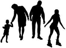 Διανυσματική σκιαγραφία της οικογένειας Στοκ φωτογραφίες με δικαίωμα ελεύθερης χρήσης