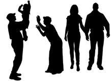 Διανυσματική σκιαγραφία της οικογένειας Στοκ εικόνα με δικαίωμα ελεύθερης χρήσης