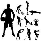 Διανυσματική σκιαγραφία του αθλητισμού Στοκ Φωτογραφία