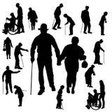 Διανυσματική σκιαγραφία του ηλικιωμένου ανθρώπου Στοκ Εικόνες