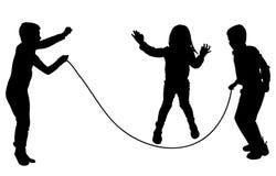 Διανυσματική σκιαγραφία των παιδιών Στοκ Εικόνες