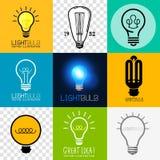 Διανυσματική συλλογή Lightbulb Στοκ εικόνα με δικαίωμα ελεύθερης χρήσης