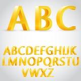 Διανυσματική τρισδιάστατη χρυσή απεικόνιση αλφάβητου Στοκ Εικόνες