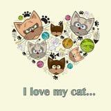 Διανυσματική τυποποιημένη καρδιά με τις γάτες για τη χρήση στο σχέδιο Στοκ Εικόνα