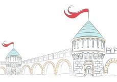 Διανυσματικοί τοίχοι και πύργοι ενός μεσαιωνικού κάστρου Στοκ εικόνα με δικαίωμα ελεύθερης χρήσης
