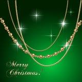 Διανυσματικός αφηρημένος πράσινος χαιρετισμός Χριστουγέννων πολυτέλειας Στοκ Εικόνα