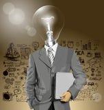 Διανυσματικός επικεφαλής επιχειρηματίας λαμπτήρων με το lap-top Στοκ Εικόνες