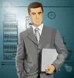 Διανυσματικός επιχειρηματίας με το lap-top Στοκ Εικόνες
